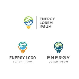 Logotipo energético con bombilla de hoja, agua y electricidad.