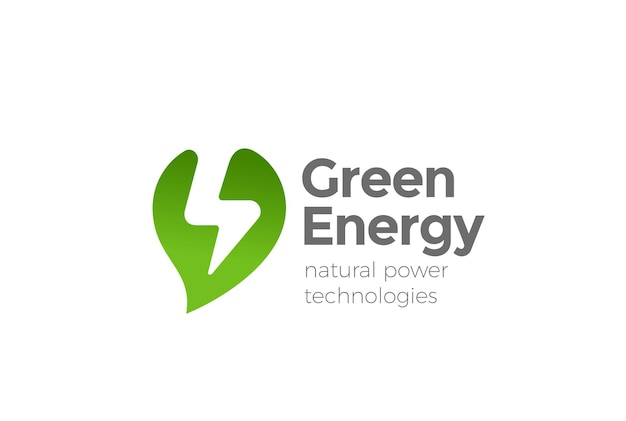 Logotipo de energía de energía alternativa verde.