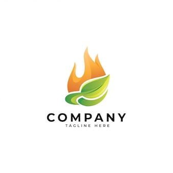 Logotipo de energía de naturaleza moderna 3d, icono de fuego y hoja