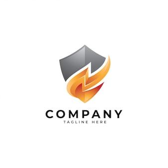 Logotipo de energía segura, icono de trueno y escudo
