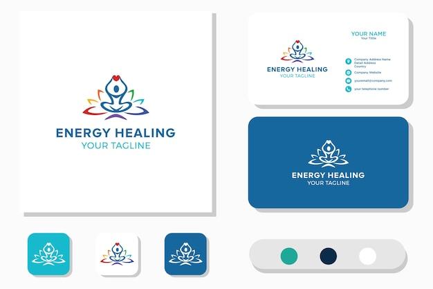 Logotipo de energy healinge, bienestar. icono y tarjeta de visita