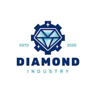 Logotipo de engranaje de diamante