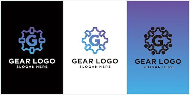 Logotipo de engranaje simple e iniciales logotipo de gg engranaje