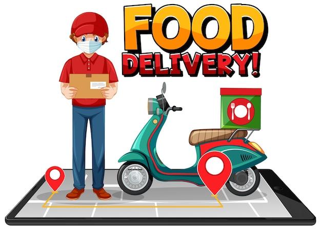 Logotipo de entrega de alimentos con bici o mensajero.