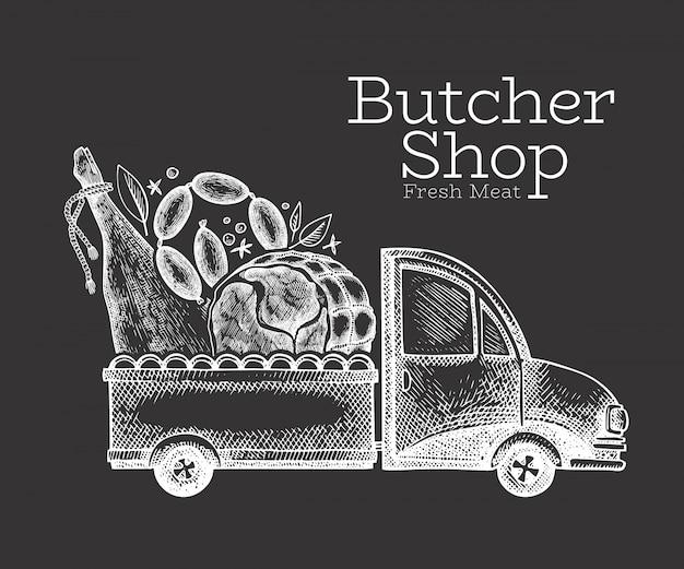 Logotipo de entrega de carnicería. camión dibujado a mano con ilustración de carne. diseño de comida retro estilo grabado.
