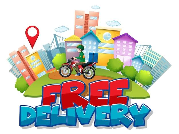 Logotipo de entrega gratuita con ciclista o mensajero en la ciudad.