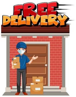 Logotipo de entrega gratuita con mensajería