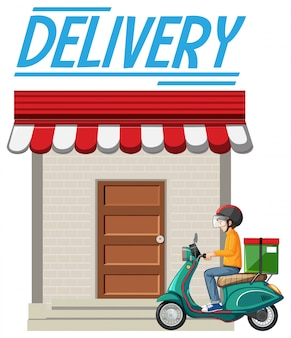 Logotipo de entrega con mensajero o ciclista