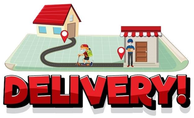 Logotipo de entrega con pin ubicar en casa