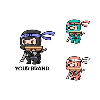 Logotipo de entrega de pizza little ninja