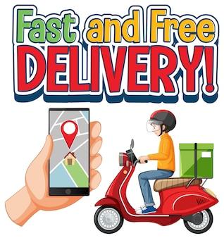 Logotipo de entrega rápida y gratuita con ciclista y mensajero