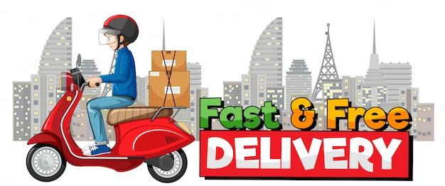 Logotipo de entrega rápida y gratuita con ciclista o mensajero en la ciudad.