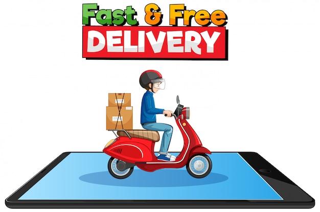 Logotipo de entrega rápida y gratuita con ciclista o mensajero