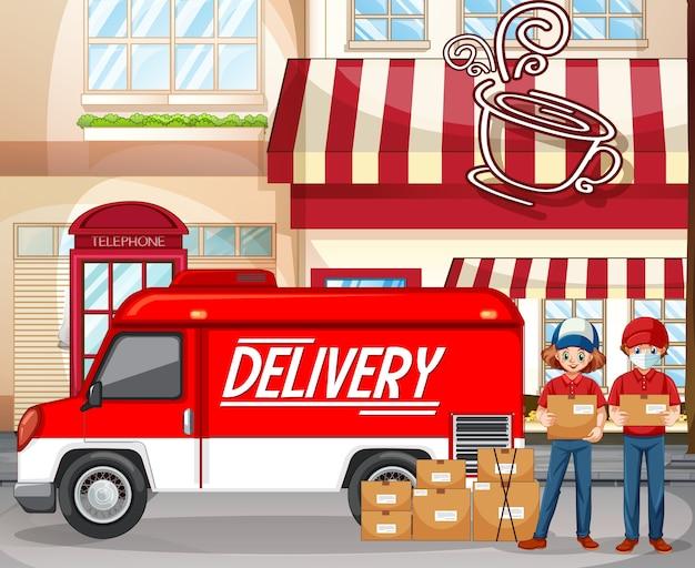 Logotipo de entrega rápida y gratuita con furgoneta o camión de reparto en la cafetería.