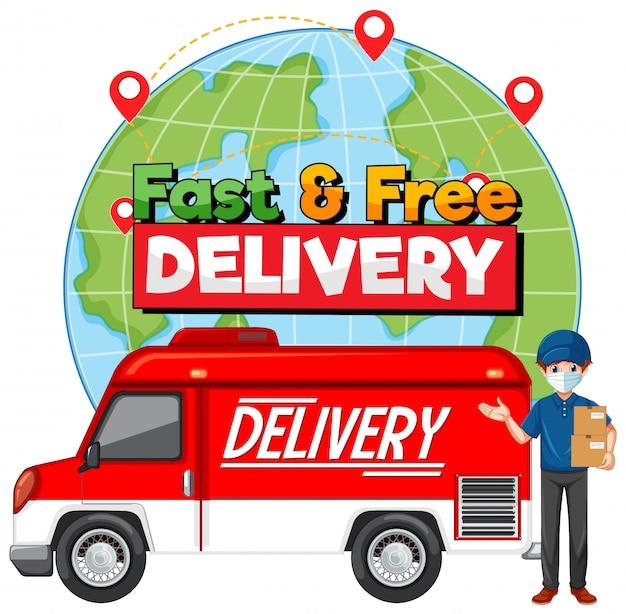 Logotipo de entrega rápida y gratuita con furgoneta o camión de reparto
