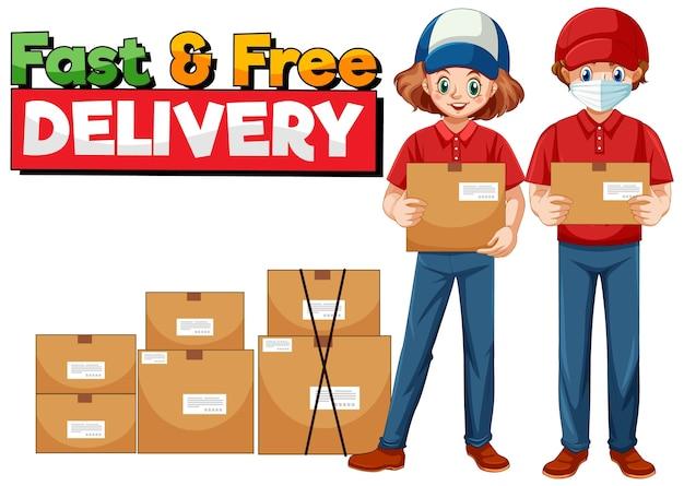Logotipo de entrega rápida y gratuita con mensajería.