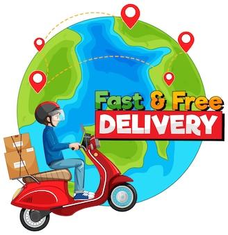 Logotipo de entrega rápida y gratuita