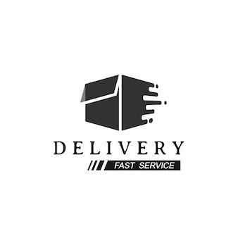 Logotipo de entrega con símbolo de caja de movimiento rápido