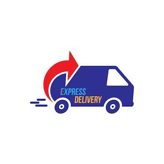 Logotipo de entrega urgente. envío rápido con temporizador de camión con inscripción