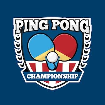 Logotipo del equipo internacional de pink pong en tonos azules