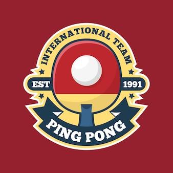 Logotipo del equipo internacional de pink pong en tonos rojos