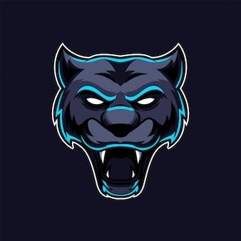 Logotipo del equipo de juego de la mascota de la cabeza de gato negro pantera