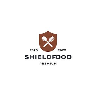 Logotipo de escudo de alimentos con símbolo de icono de cuchara y tenedor