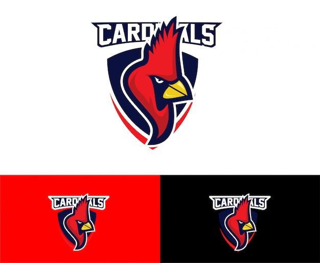 Logotipo de escudo de aves cardenal deporte