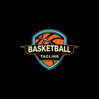 Logotipo de escudo de baloncesto