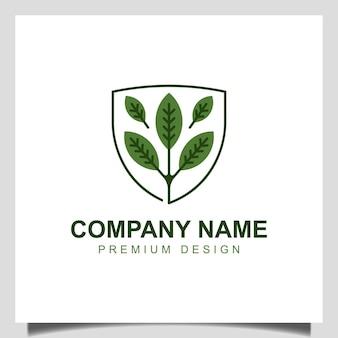 Logotipo de escudo biológico vegetal, logotipo de hoja saludable a base de hierbas, plantilla de vector de diseño de logotipo de árbol de protección de la naturaleza