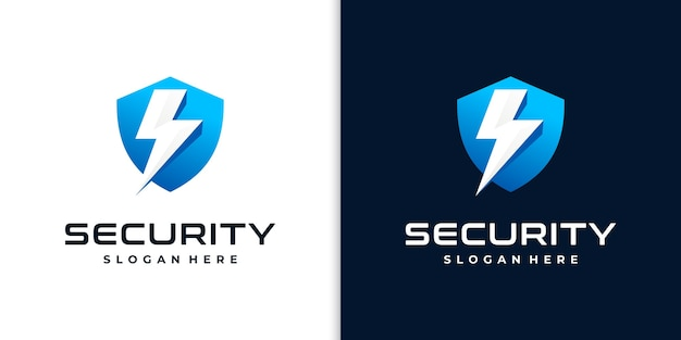 Logotipo de escudo creativo para seguridad.