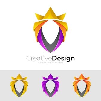 Logotipo de escudo y diseño de corona colorido, estilo 3d