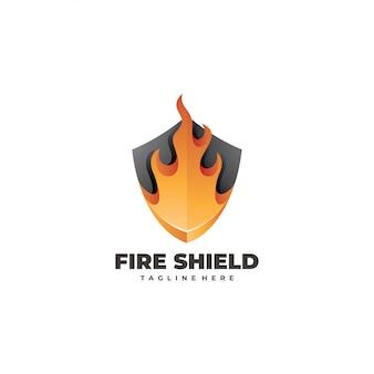 Logotipo de escudo de fuego