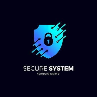 Logotipo de escudo de seguridad con circuito técnico.