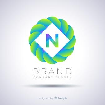 Logotipo esférico de plantilla abstracta gradiente
