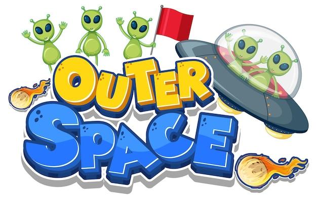 Logotipo del espacio exterior con muchos extraterrestres.