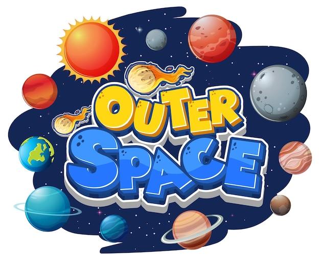 Logotipo del espacio exterior con muchos planetas.