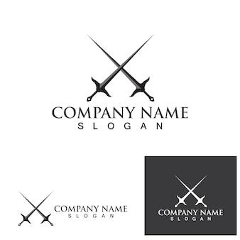 Logotipo de espada y símbolo plantilla vectorial eps10