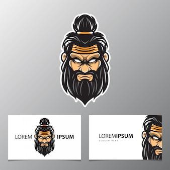 Logotipo de espíritu guerrero y tarjeta de visita