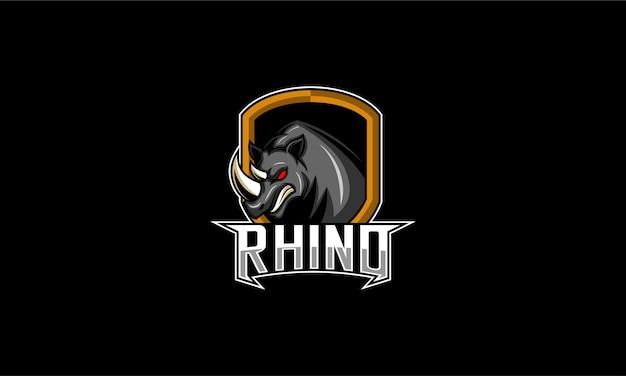 Logotipo de esport de cabeza de rinoceronte enojado