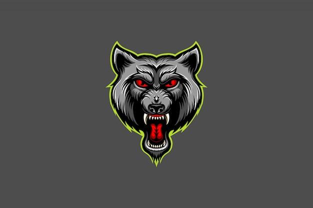 Logotipo de esport enojado cabeza de lobo