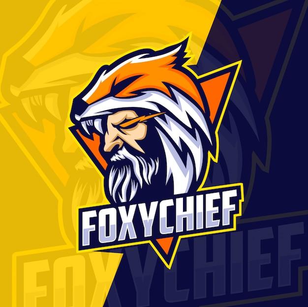 Logotipo de esport jefe mascota zorro
