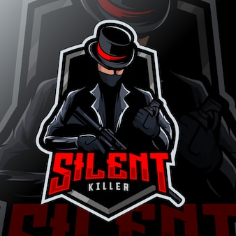 Logotipo de esport mafia killer mascot