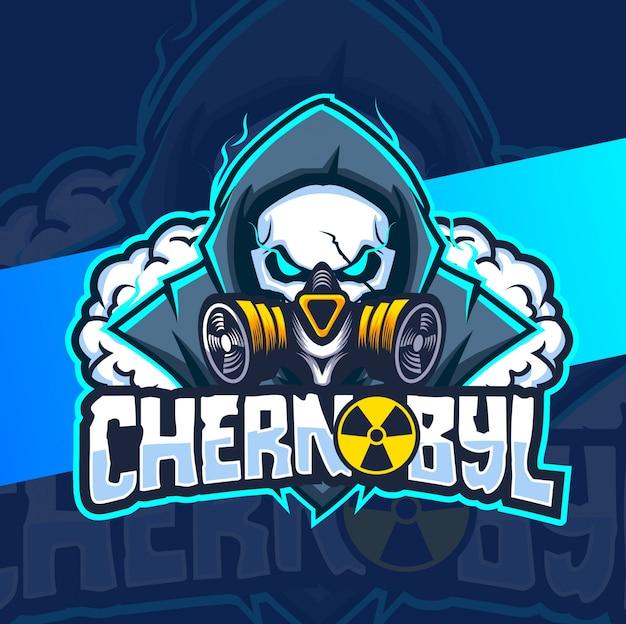 Logotipo de esport de máscara nuclear de chernobyl