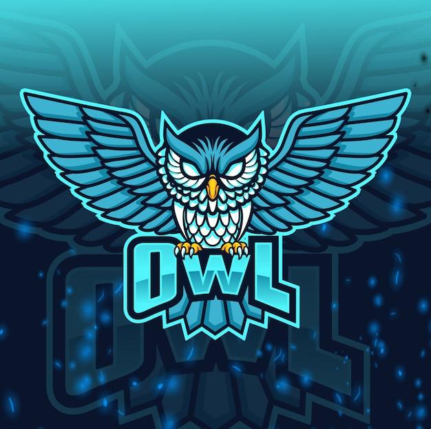 Logotipo de esport de mascota búho enojado