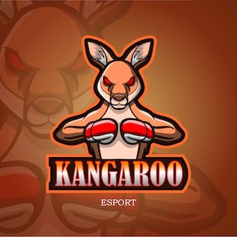 Logotipo de esport de mascota canguro.