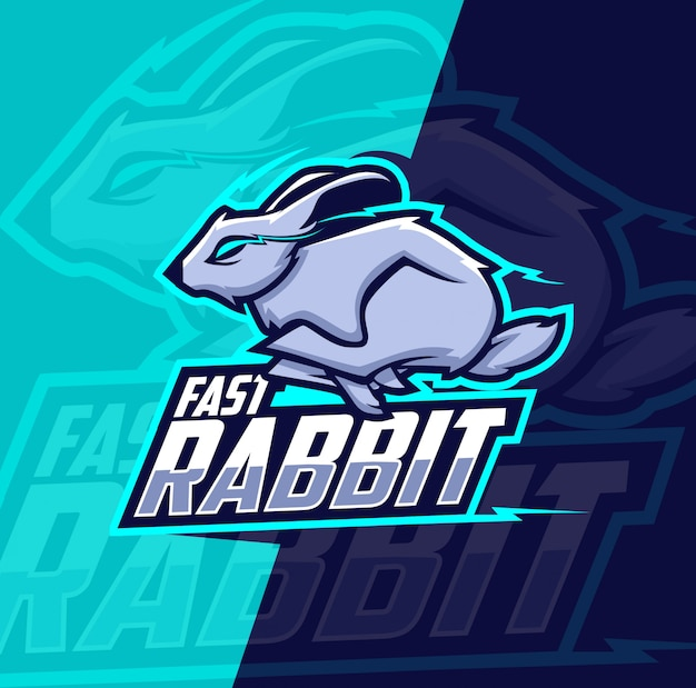 Logotipo de esport de mascota de conejo rápido