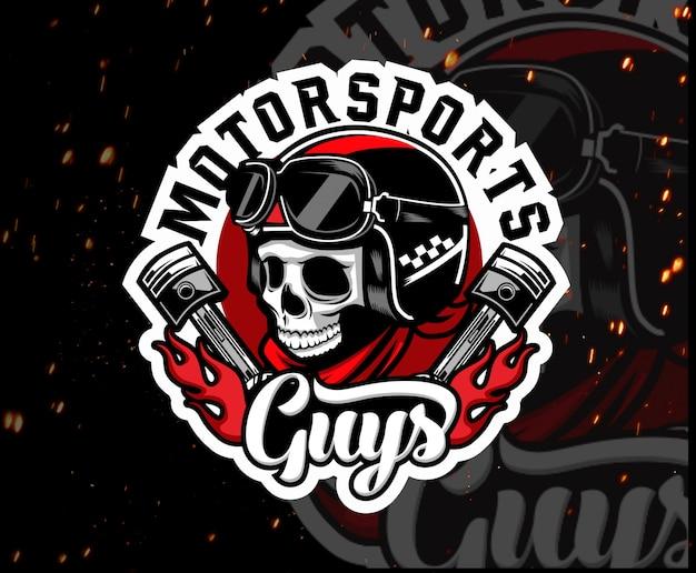 Logotipo de esport de mascota de cráneo de moto
