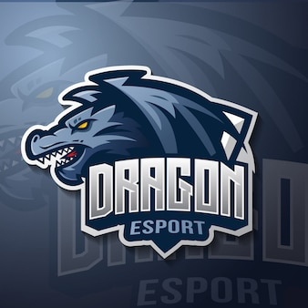 Logotipo de esport mascota de dragón
