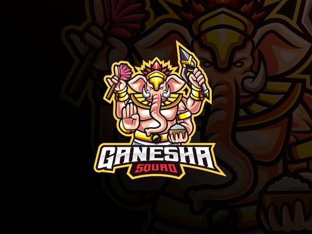 Logotipo de esport de la mascota de ganesha. logotipo de la mascota de ganesha. mascota de ganesha, para el equipo de esports.